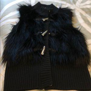 Michael Kors Black Faux Fur Vest Size Medium